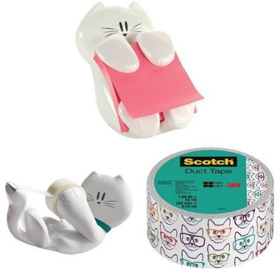 """Deluxe Cat Pack Post-it Cat Figure Pop-up Note Dispenser, Scotch Kitty Dispenser with Scotch Magic Tape and Scotch Duct Tape, 1.88 """" x 10 yd, Cat with Glasses"""