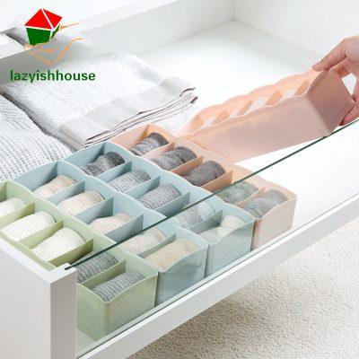 5 Grids Wardrobe Storage Box Basket Organizer Women Men Socks Bra Underwear Storage Box Plastic storage Container Organizer64180