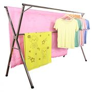 exilot Heavy Duty Stainless Steel Laundry Drying Rack for Indoor Outdoor,Foldable Easy Storage Clothes Drying Rack, Free of Installation Adjustable Garment Rack.