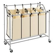 Bonnlo 4-Bag Heavy-Duty Laundry Sorter Cart Rolling Divided Laundry Sorting Cart with Removable Bags and Brake Casters (Beige)
