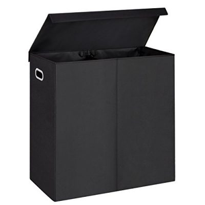 MaidMAX Double Laundry Hamper with Magnetic Lid, 2 Removable Liners and Dual Handles, Black