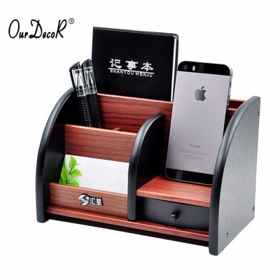 Wooden High-grade multifunctional Desk Stationery Organizer Storage Box Pen Pencil Box Jewelry Makeup Holder Case Brown