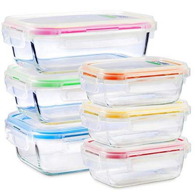 Glass Food Storage Containers with Lids - 6 Pack, 2 Sizes (35 Oz, 12 Oz) - Meal Prep Lunch Boxes - Microwave, Fridge, Freezer, Dishwasher, Oven Safe - BPA-free - Easy Snap, Airtight and Leakproof Lids