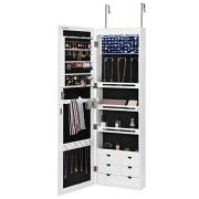 LED Jewelry Cabinet Armoire with 6 Drawers Lockable Door