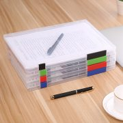 A4 File Storage Box Clear Plastic Document Cases Desk Paper Organizers
