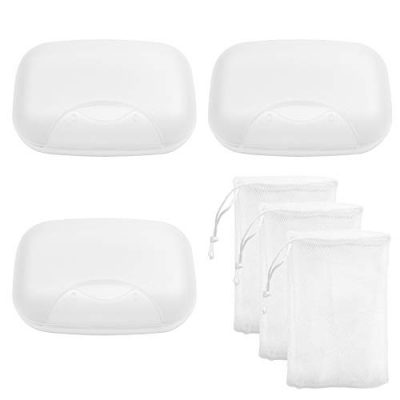 Awpeye 3 Pack Travel Soap Case with Foaming Net