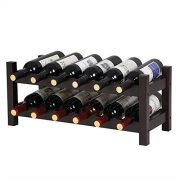 SONGMICS Bamboo Wine Display Rack, 2-Tier 12-Bottle Storage Shelf, Brown UKWR001BR