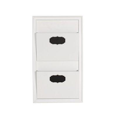 DesignOvation Walcott Decorative Wall Organizer Mail Holder with Two Pockets, White
