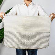 "INDRESSME XXXLarge Cotton Rope Basket 21.7"" x 21.7"" x 13.8"" Woven Baby Laundry Basket for Blankets Toys Storage Basket with Handle Comforter Cushions Storage Bins Thread Laundry Hamper-Black Stitch"
