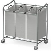 Simple Houseware Heavy-Duty 3-Bag Laundry Sorter Cart, Grey