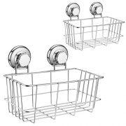SANNO Two Suction Shower Caddies, Deep Basket Shelf with Suction Cups,Bath Organizer Kitchen Storage Basket for Gel Holder Bathroom Storage Shampoo, Conditioner -2 Pack