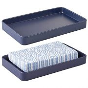 mDesign Modern Decorative Metal Guest Hand Towel Storage Tray Dispenser, Sturdy Holder for Disposable Paper Napkins - Bathroom Vanity Countertop Organization - 2 Pack - Matte Navy Blue
