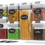 Airtight Food Storage Containers - Airtight Container Set with Lids - Food Storage Container Set - Plastic BPA Free - 7 Piece Set - BONUS 24 Labels with Marker - Heavy Duty Dry Food Storage Container