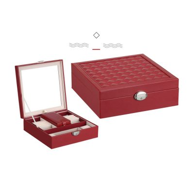 Luxury Leather Jewelry Box Colorful PU Jewel Case With Mirror Creative Storage Box 1 Piece Free Shipping