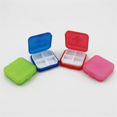 1pc Square Medical Kit Pill Jewelry Organizer Storage Box 4 Colors Select Travel Portable Box For Sundries 2017 New Fashion