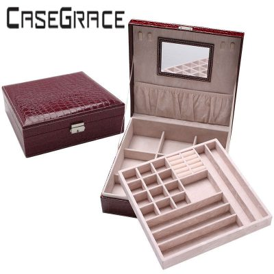 Rectangle Pu Leather Luxury Jewelry Storage Box Casket Quickdone Multideck Desk Organizer With Mirror One Piece Free Shipping