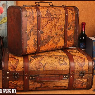 Gushifu Wooden box European suitcase vintage box Gift wooden jewelry box big zakka Storage Box map brown Leather printing