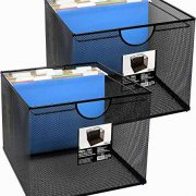 Neat Life Mesh Office File Organizer Storage Box with Side Hanging Rails – Black (2 Pack)