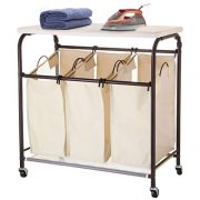 Ollieroo Classic Rolling Laundry Sorter Cart Heavy Duty 3 Bags Laundry Hamper Sorter with Ironing Board (Beige)