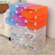 NEW5PCS Eco-Friendly Shoe Storage Box Case Transparent Plastic Storage Box Rectangle PP Shoe Organizer Thickened drawer Shoe Box