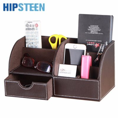 HIPSTEEN Multifunctional PU Leather Office Desk Organizer Business Card Stationery Holder Storage Box