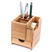 CKB Ltd Bamboo Desk Square Pen Pencil Holder Stand Office Organizer with Drawer & Tape Dispenser