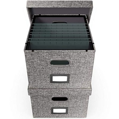 File Boxes for Hanging Files | Decorative Filing Organizer with Lid | Filing Box Features Patent-Pending Metal Folder Glides for Easy Movement | Linen Hanging File Box Set of 2 | Neutral Gray