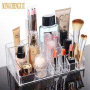 16 Slots Desktop makeup cases Transparent Acrylic Crystal Cosmetic Boxes Nail Polish Lipstick Display Organizer Storage Box