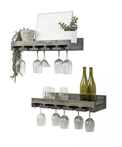 Rustic Wooden Wall Mounted Handmade Tiered Wine Glass Racks (Grey, 24 Inch)