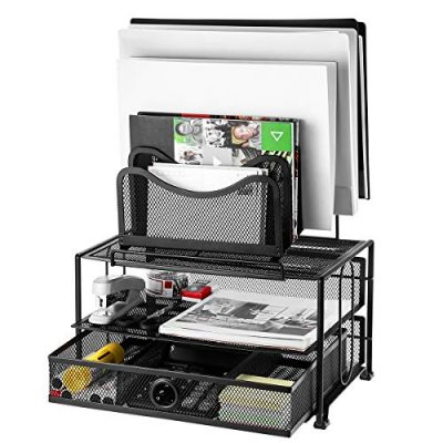HOMEMAXS Mesh Desk Organizer with Sliding Drawer, 5 Removable Stacking Sorter Sections and Double Tray, Durable Steel Mesh Construction, Black