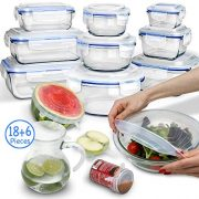 24 Piece Glass Food Storage Containers with Lids + Microwave Covers, BPA-Free & FDA Approved, 100% Leak-proof and Airtight, Meal Prep, Oven/Dishwasher/Microwave/Freezer Safe