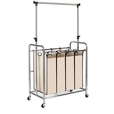 Bonnlo 4-Bag Rolling Laundry Sorter with Adjustable Hanging Bar, Chrome/Beige
