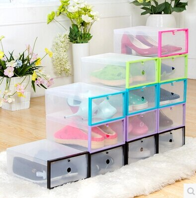 5PC Foldable Shoe Cabinet Shoe Organizer Shoe Storage Box Plastic Shoe Box Transparent Drawer Organizer Stackable Plastic Box