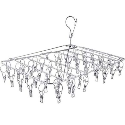 DUOFIRE Stainless Steel Folding Clothes Drying Racks Laundry Drip Hanger Laundry Clothesline Hanging Rack Set of 52 Metal Clothespins for Drying Clothes, Towels, Underwear, Lingerie, Socks(1 Pack)