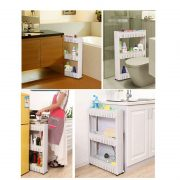 1 Pc White Gap Storage Shelf For Kitchen Storage Skating Movable Plastic