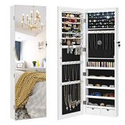 SONGMICS Full Screen Mirrored Jewelry Cabinet Armoire