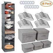 Collapsible Nursery Closet Organizer, 38 Complete Storage Organizer Set with Hanging Shelves, Fabric Storage Boxes, Non Slip Velvet Hangers, Round Clothes Rividers, Closet Organizer for Sweater, Grey