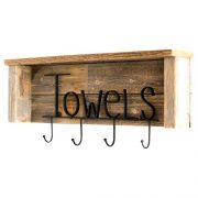 Drakestone Designs Wood Bathroom Towel Rack Hooks 24 Inch