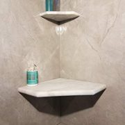 "16"" Marble Shower Corner Seat (Carrara White XA) Natural Stone"