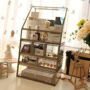 Antique Spacious Makeup Organizer Mirror Glass Drawers Set