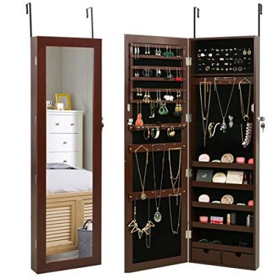 Marble Field Mirrored Jewelry Cabinet Lockable Wall Door Mounted Jewelry