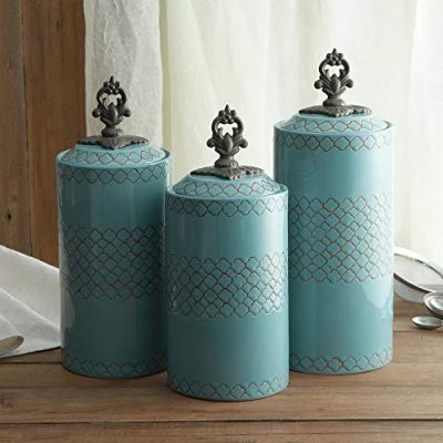 Ceramic Kitchen Canisters | Set of 3 Food Storage Jars