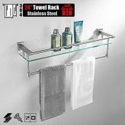 JQK Bathroom Glass Shelf, Stainless Steel Large Towel Rack
