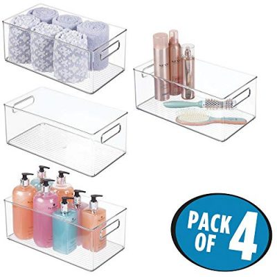 mDesign Deep Plastic Storage Bin Tote with Handles for Organizing Cosmetics