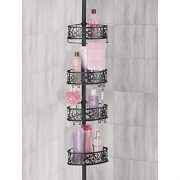 mDesign Bathroom Shower Storage Constant Tension Corner Pole Caddy