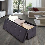 "Giantex 45"" Folding Storage Ottoman Bench Tufted Faux Leather Coffee"