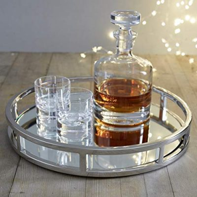 Le'raze Mirrored Vanity Tray, Decorative Round Tray with Chrome Rails for Display