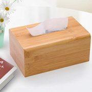 Ashjkk Natural Bamboo Square Box Cover Tissue Holder Finish Boutique Container