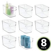 mDesign Deep Plastic Bathroom Vanity Storage Bin with Handles