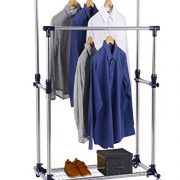 Finnhomy Double Rails Adjustable Free Standing Rolling Garment Rack